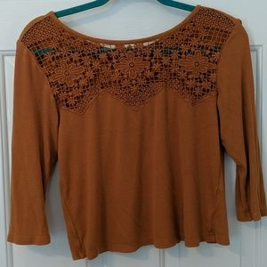 American Eagle Cropped 3/4 Sleeved Ribbed Thermal